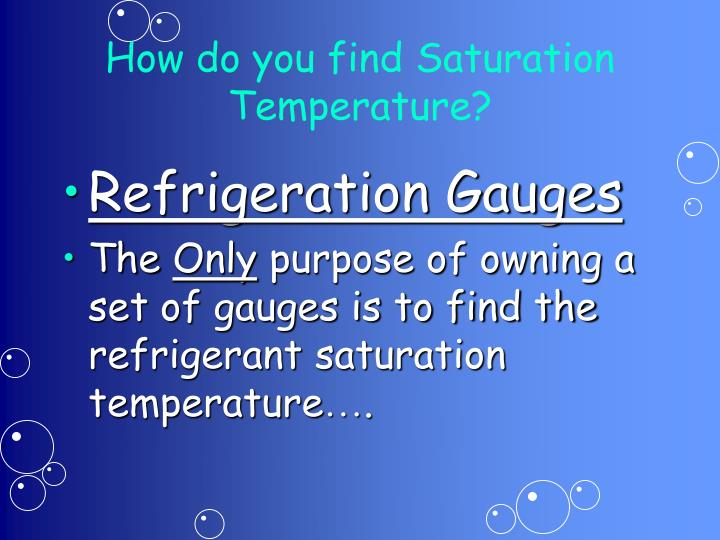 How do you find Saturation Temperature?