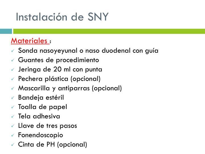 Instalación de SNY