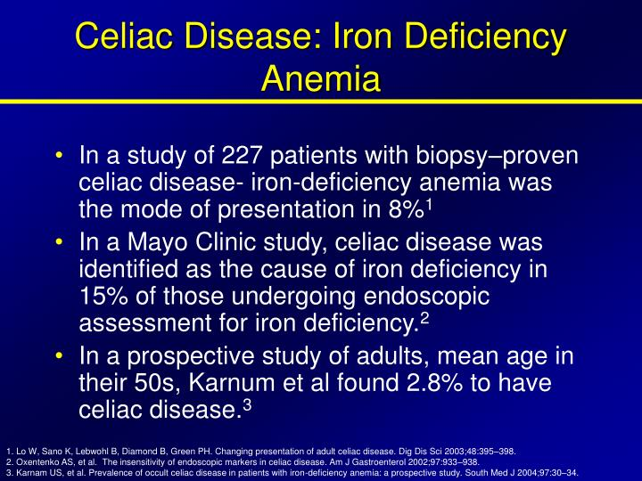 Celiac Disease: Iron Deficiency Anemia