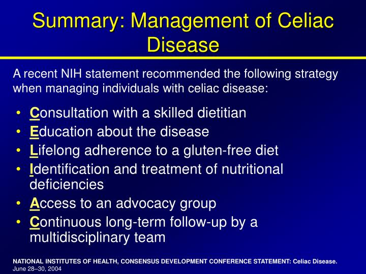 Summary: Management of Celiac Disease