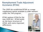 reemployment trade adjustment assistance rtaa