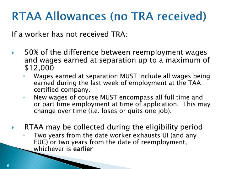 RTAA Allowances (no TRA received)