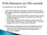 rtaa allowances no tra received