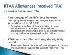rtaa allowances received tra