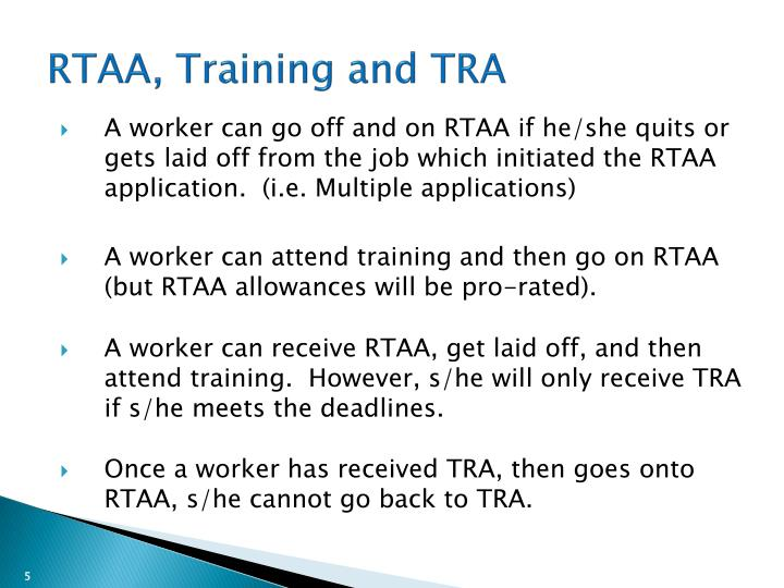 RTAA, Training and TRA