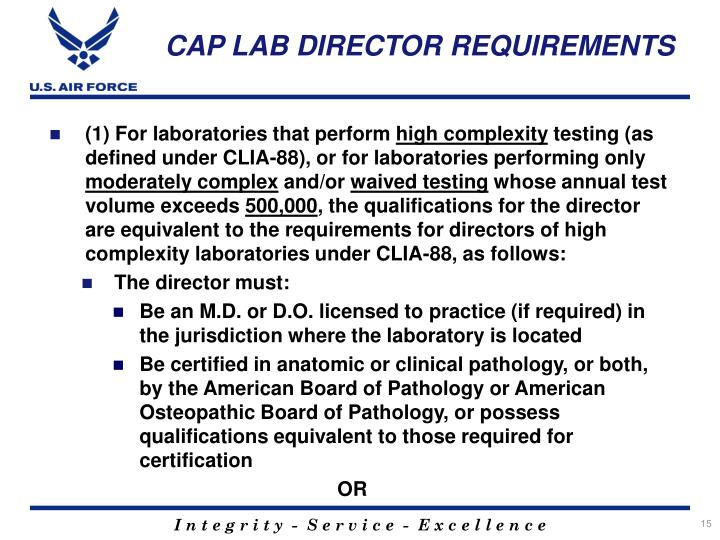 CAP LAB DIRECTOR REQUIREMENTS