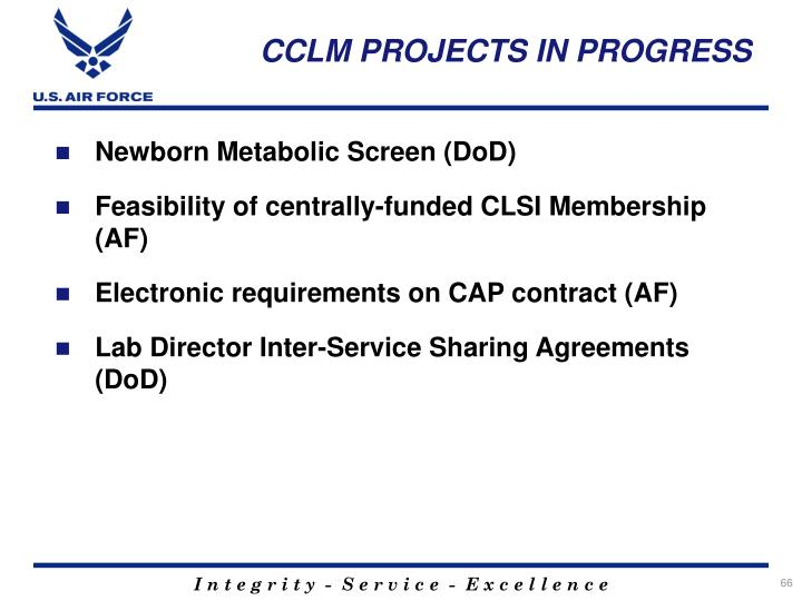 CCLM PROJECTS IN PROGRESS