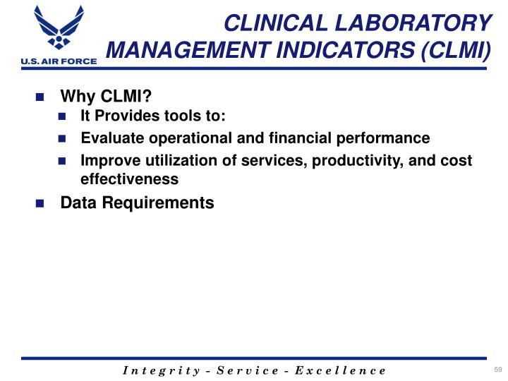 CLINICAL LABORATORY MANAGEMENT INDICATORS (CLMI)
