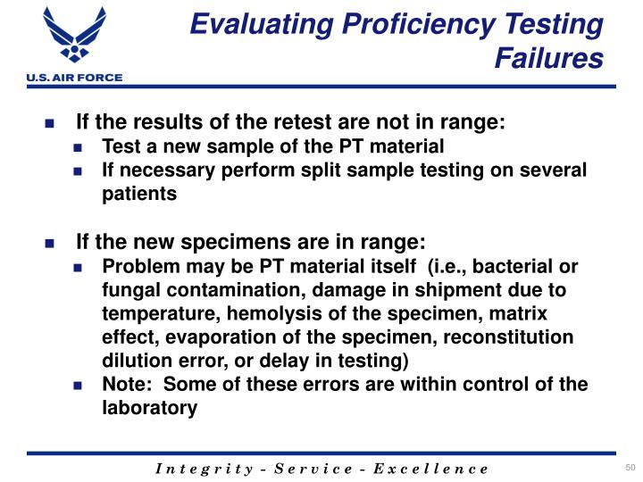 Evaluating Proficiency Testing Failures