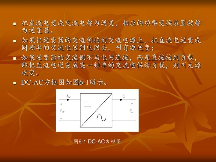 把直流电变成交流电称为逆变,相应的功率变换装置被称为逆变器。