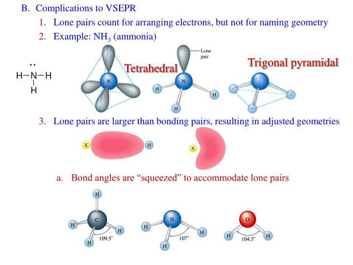 B.Complications to VSEPR