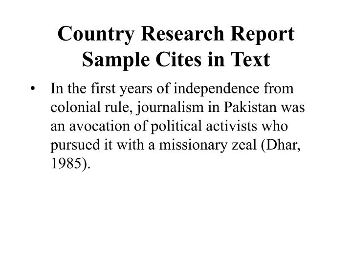 Country research report sample cites in text