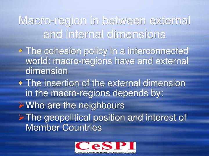 Macro-region in between external and internal dimensions