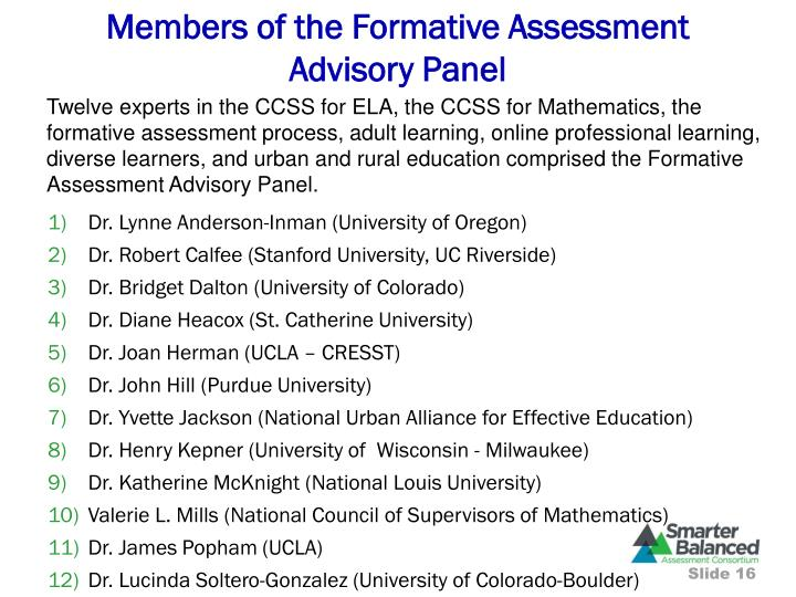 Members of the Formative Assessment Advisory Panel