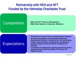 partnership with nea and aft funded by the helmsley charitable trust