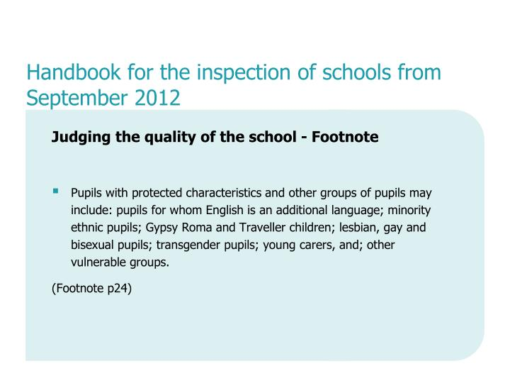 Handbook for the inspection of schools from September 2012
