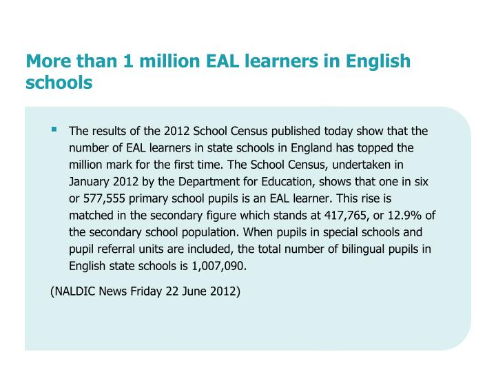 More than 1 million EAL learners in English schools