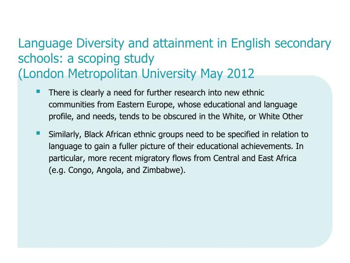 Language Diversity and attainment in English secondary schools: a scoping study