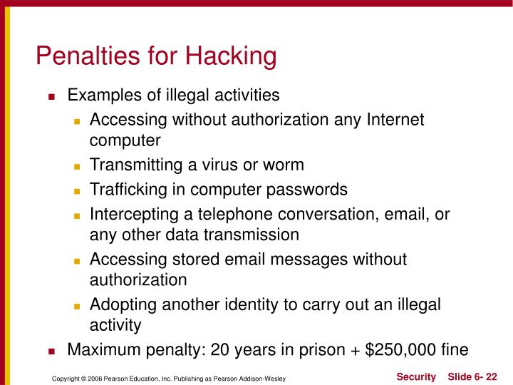 Penalties for Hacking