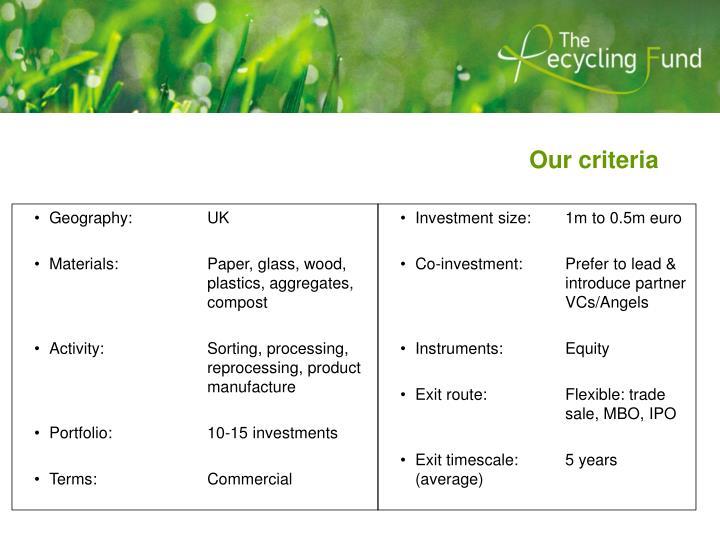 Our criteria