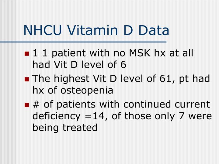 NHCU Vitamin D Data