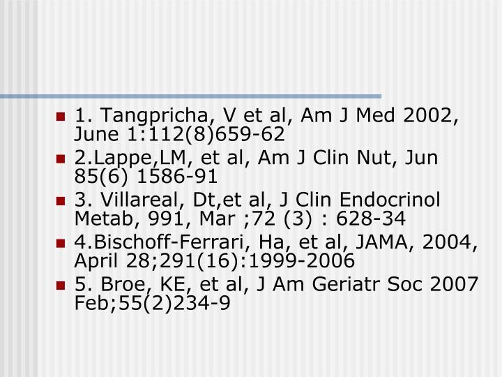 1. Tangpricha, V et al, Am J Med 2002, June 1:112(8)659-62