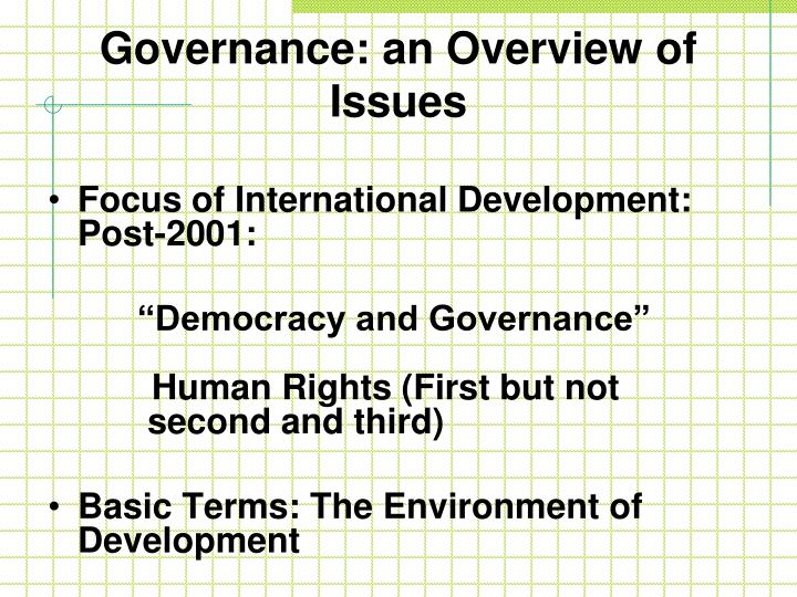 Governance: an Overview of Issues