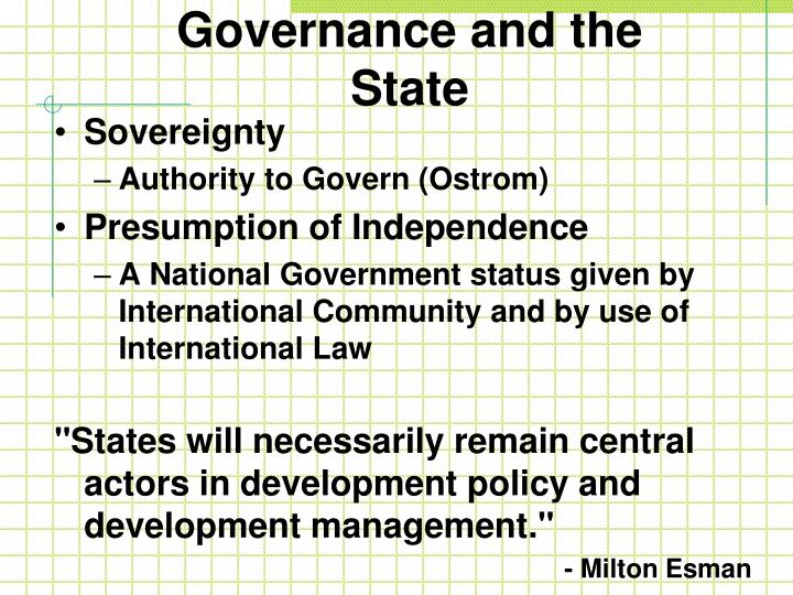 Governance and the