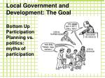 local government and development the goal