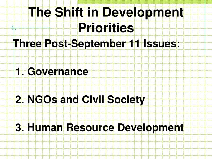 The Shift in Development Priorities