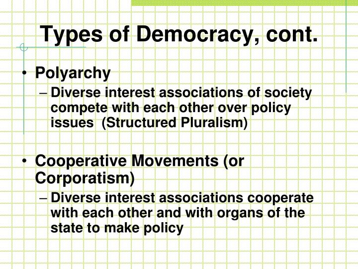 Types of Democracy, cont.