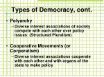 types of democracy cont