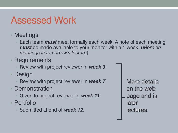 Assessed Work