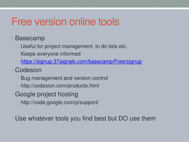 Free version online tools