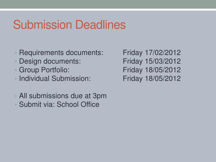 Submission Deadlines