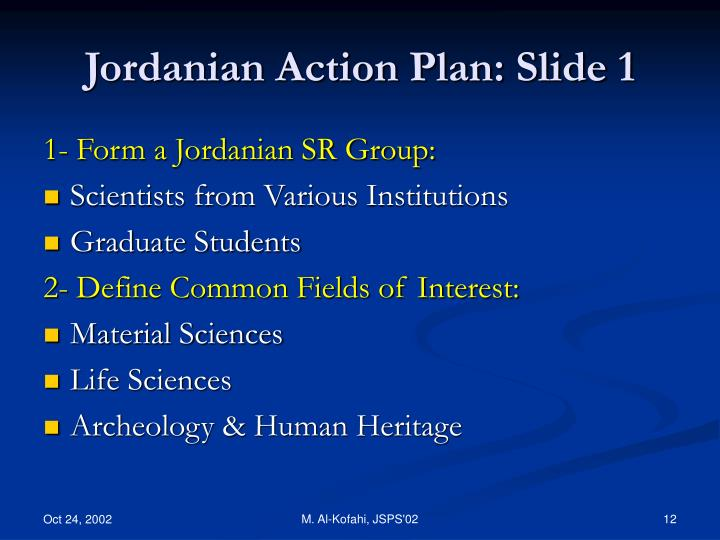 Jordanian Action Plan: Slide 1