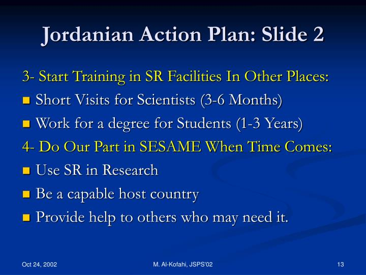 Jordanian Action Plan: Slide 2