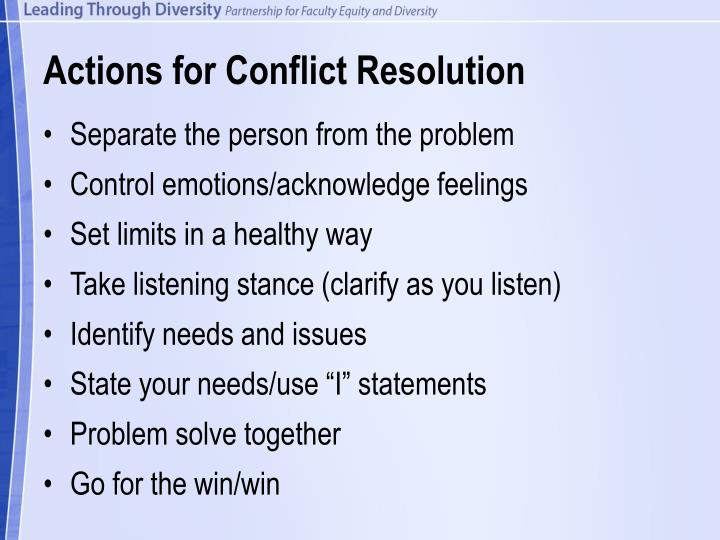 Actions for Conflict Resolution
