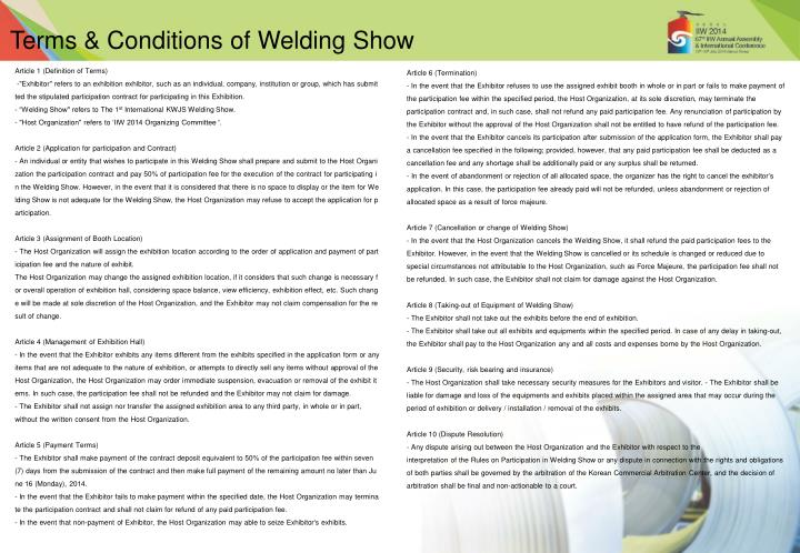Terms & Conditions of Welding Show