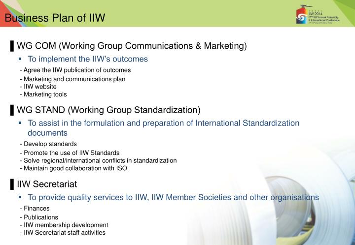 Business Plan of IIW
