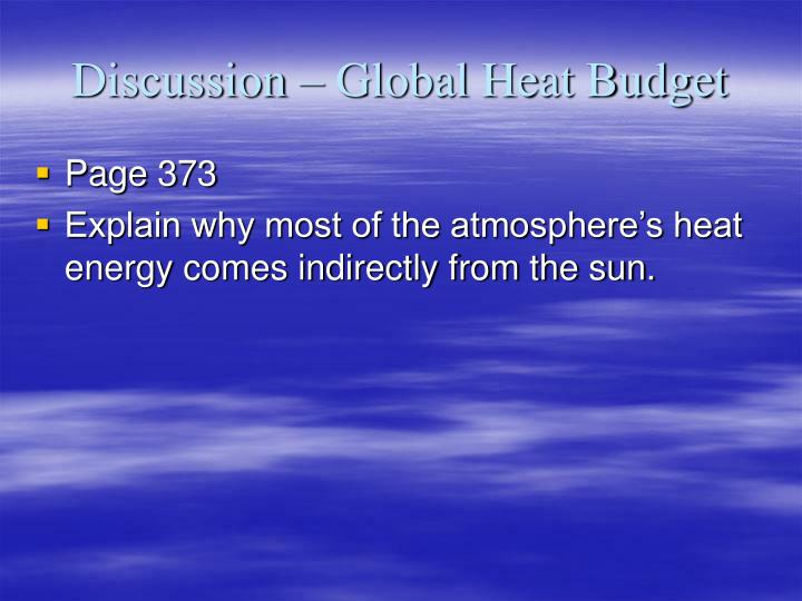 Discussion – Global Heat Budget