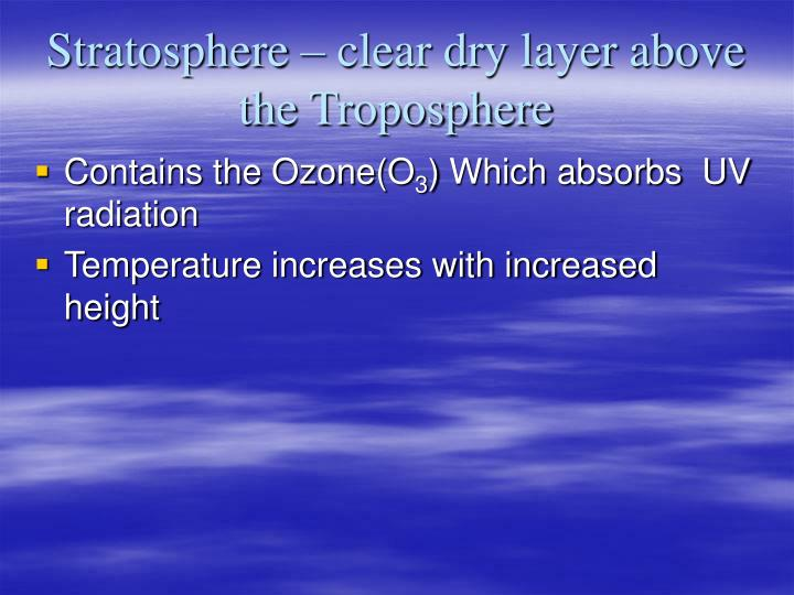 Stratosphere – clear dry layer above the Troposphere