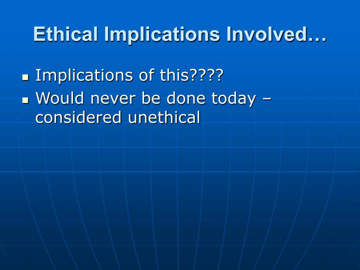 Ethical Implications Involved…