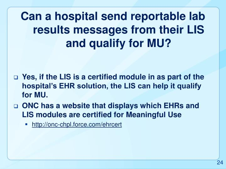 Can a hospital send reportable lab results messages from their LIS and qualify for MU?