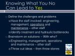 knowing what you no can lead to yes