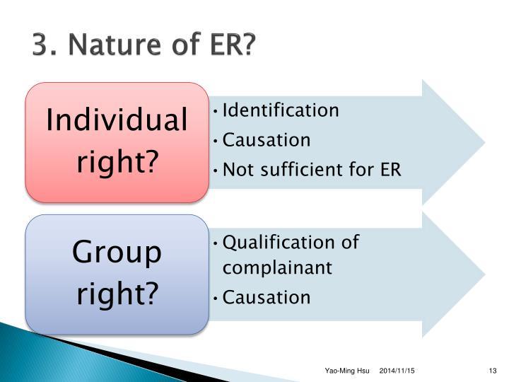 3. Nature of ER?