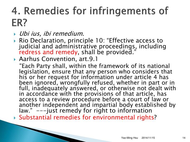 4. Remedies for infringements of ER?