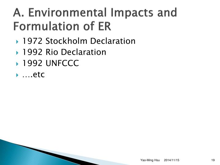 A. Environmental Impacts and Formulation of ER