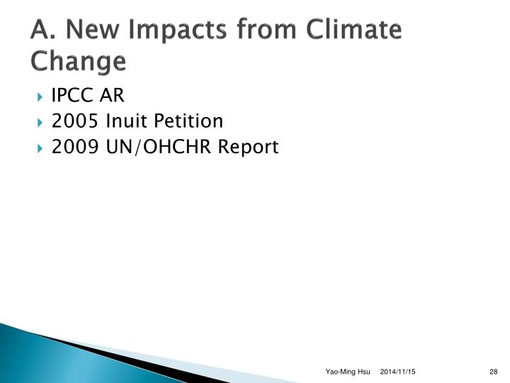A. New Impacts from Climate Change
