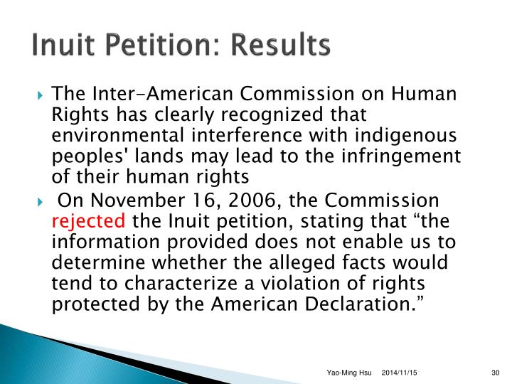 Inuit Petition: Results